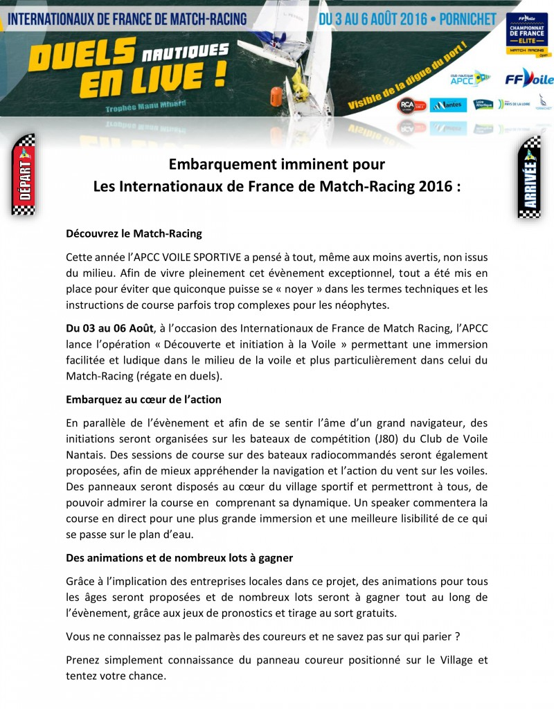 Embarquement imminent pour les Internationaux de France de Match-Racing 2016